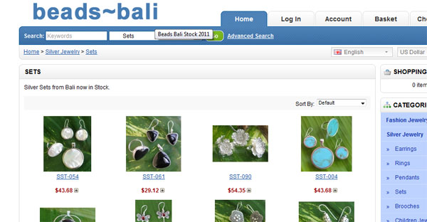 Snapshot from the Beads Bali wholesale Jewelry Stock pages.